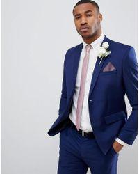 Boohoo - Skinny Fit Suit Jacket In Blue - Lyst