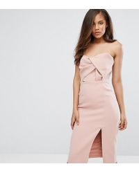 True Decadence - Exagerated Bow Detail Bandeau Midi Dress - Lyst