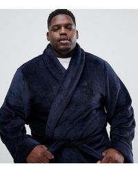 French Connection - Fleece Dressing Gown In Navy - Lyst