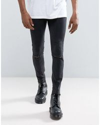 Mennace - Super Skinny Fit Jean With Rips And Raw Hem In Black - Lyst