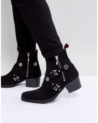 Jeffery West - Manero Buckle Boots In Black Suede - Lyst