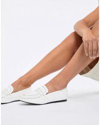Glamorous - White Studded Loafer - Lyst
