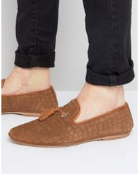 House Of Hounds - Croc Suede Tassle Loafers - Lyst
