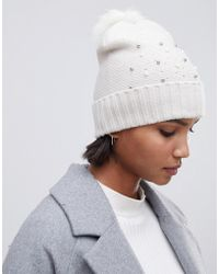 Oasis - Beanie With Bead Embellishment In White - Lyst