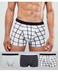 New Look - Trunks In Black Check 3 Pack - Lyst
