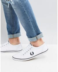 Fred Perry - Kingston Twill Plimsolls In White - Lyst