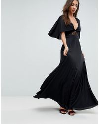 ASOS - Cape Pleated Lace Insert Maxi Dress - Lyst