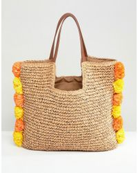 Chateau - Pom Pom Trim Straw Beach Bag - Lyst