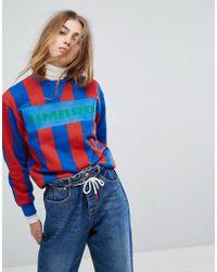 Umbro - Oversized Sweatshirt With Front Logo & Football Stripe - Lyst