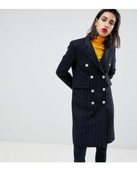 Mango - Pin Stripe Button Front Tailored Coat In Black - Lyst