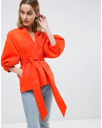 ASOS - Cotton Twill Structured Sleeve Co-ord Top - Lyst