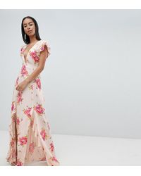 ASOS - Asos Design Tall Plunge Maxi Dress In Floral Print - Lyst