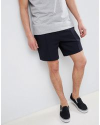 River Island - Jersey Shorts With Mustard Trim In Navy - Lyst