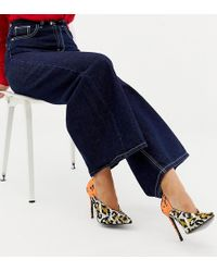 e2e5761bd49b ASOS - Wide Fit Putty Pointed High Heeled Court Shoes In Leopard Floral  Print - Lyst