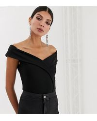 Missguided - Exclusive Tall Bardot Wrap Over Body In Black - Lyst