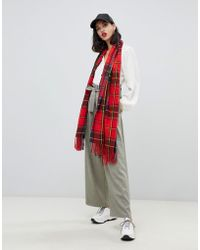 Stradivarius - Red Base Check Scarf - Lyst