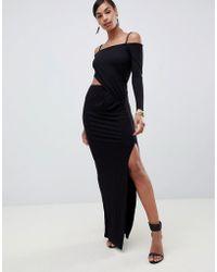 ASOS - Square Neck Bardot Cut Out Wrap Maxi Dress - Lyst