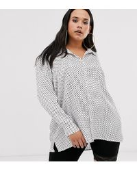 Missguided - Exclusive Oversized Satin Shirt In Polka Dot - Lyst