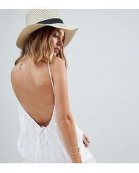 ASOS - Low Back Mini Sundress In Heart Broderie - Lyst