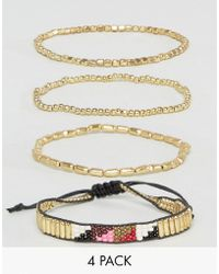 Pieces - Aztec Bracelet Set In Gold - Lyst