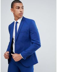 SELECTED - Skinny Suit Jacket In Blue With Stretch - Lyst