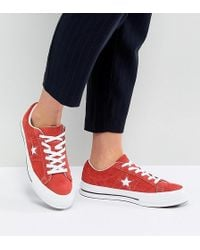 Converse - One Star Ox Sneakers In Red Suede - Lyst