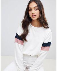 Miss Selfridge - Sweatshirt With Stripe Sleeves In White - Lyst