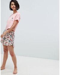 Vero Moda - Llama Print Pyjama Short Co-ord - Lyst