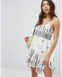 ASOS - Design Bandana Print Placement Hanky Hem Beach Dress - Lyst