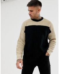 Bershka - Knitted Sweater In Black With Camel Color Blocking - Lyst