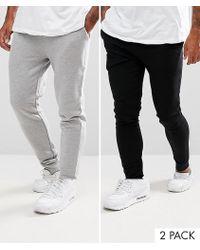 ASOS - Super Skinny Joggers 2 Pack Black/grey Marl Save - Lyst
