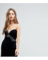 54770b83199 Bershka - Velvet Shimmer Frill Asymmetric Dress - Lyst