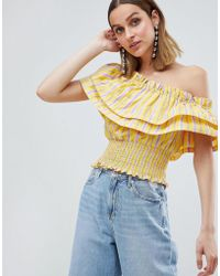 River Island - Extreme Ruffle One Shoulder Stripe Crop Top - Lyst