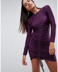 AX Paris - Long Sleeve Ruched Mini Dress - Lyst