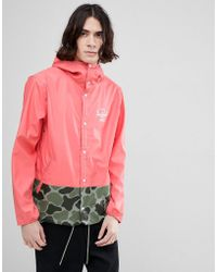 Herschel Supply Co. - Forecast Hooded Jacket Rubberised Showerproof In Pink With Camo Print Detail - Lyst