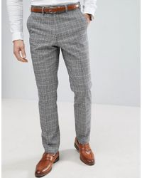 French Connection - Prince Of Wales Blue Check Slim Fit Suit Trousers - Lyst