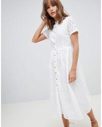Mango - Broderie Midi Dress In White - Lyst