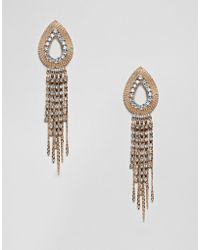ASOS - Earrings With Open Teardrop Design And Crystal Strands In Gold - Lyst
