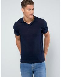 Mango - Man Knitted Polo With Revere Collar In Navy - Lyst