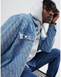 WOOD WOOD - Denim Jacket With All Over Print - Lyst