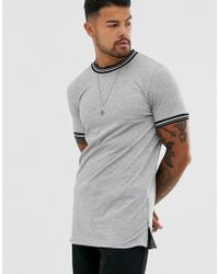 55d580efc4d2 ASOS - Skinny Longline T-shirt With Stretch And Tipping And Side Zips In  Gray