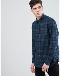 Mango - Man Slim Fit Cotton Check Shirt In Navy And Green - Lyst