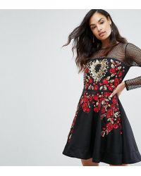 A Star Is Born - Rose Embroided Mini Skater Dress - Lyst