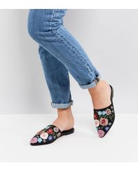 58430442e0e ASOS - Asos Moonflower Wide Fit Embellished Mules - Lyst