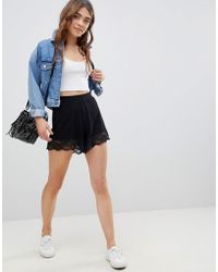 ASOS - Design Culotte Shorts With Lace Hem - Lyst
