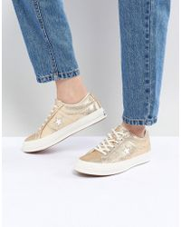 Converse - One Star Ox Trainer In Gold - Lyst