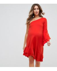 ed1bf8b3e5f GeBe Maternity - One Shoulder Mini Dress With Frill Detail - Lyst