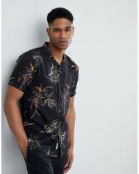 Bellfield - Short Sleeve Revere Collar Shirt With Leaf Print - Lyst