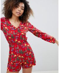 Monki - Printed Long Sleeve Playsuit - Lyst