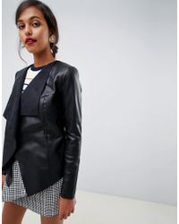 Oasis - Waterfall Front Faux Leather Jacket In Black - Lyst